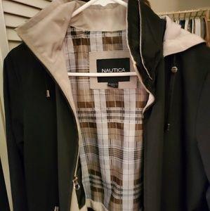 Nautica jet black and khaki jacket removable hood
